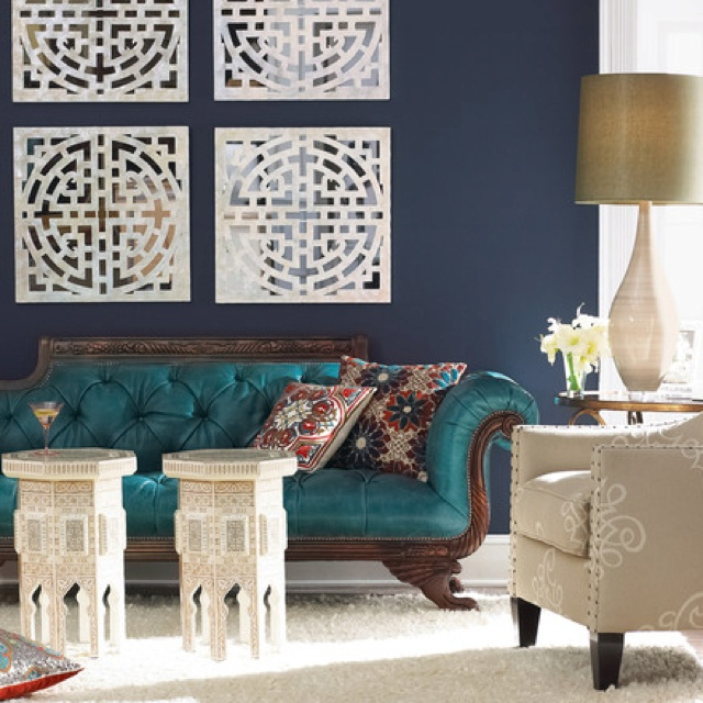 Jewel Like Jadey Teal Against A Prussian Blue Wall An Eclectic Living Room By Horchow