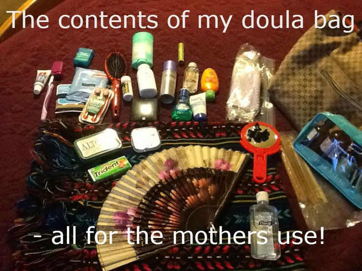 The mystery of the doula's bag is solved! Look here and see what I bring with me to a birth.