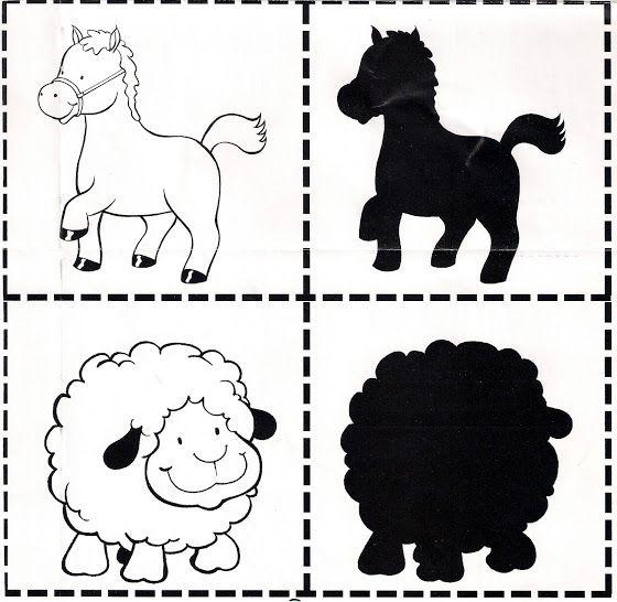 memory dieren tekening en hun schaduw