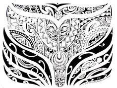 Dessin ou Croquis de Tatouage Polynesian de queue de Baleine avec tout un defile de Motifs et Symbologie purement Polynésien Marquisien Ancienne Patutiki par Miguel San Roman
