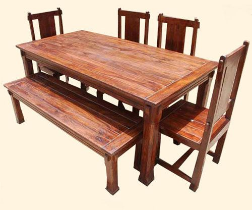 Solid Hardwood Rustic Dining Room Table U0026 Chairs Set Furniture W Patio Bench  NEW