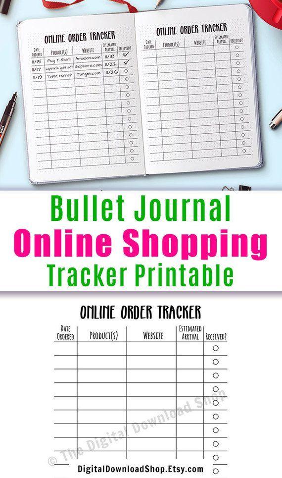 Online Shopping Tracker Printable Bullet Journal Online Order Etsy In 2021 Bullet Journal Order Tracker Bullet Journal Bujo Inspiration