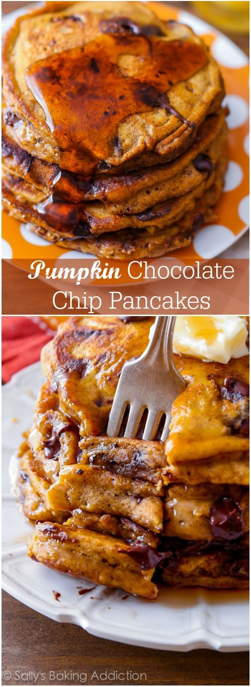 Pumpkin Chocolate Chip Pancakes - this is the ultimate recipe for moist, fluffy, thick pumpkin pancakes! Recipe by sallysbakingaddiction.com