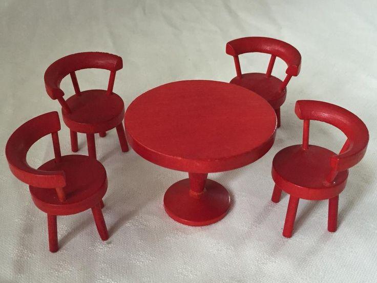 Dockmöbler Runt bord med 4 stolar