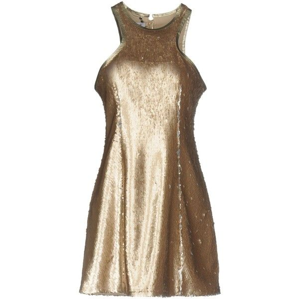 Dondup Short Dress ($320) ❤ liked on Polyvore featuring dresses, platinum, sleeveless short dress, sequin jersey dress, jersey dresses, jersey swing dress and sleeveless swing dress
