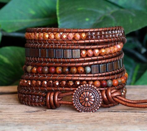 Beaded Leather Five Wrap Bracelet, Brown Copper Beaded Wrap, Tila Jasper Hematite Czech Glass Bead Bracelet, Boho Wrap, Artisan Leather Wrap