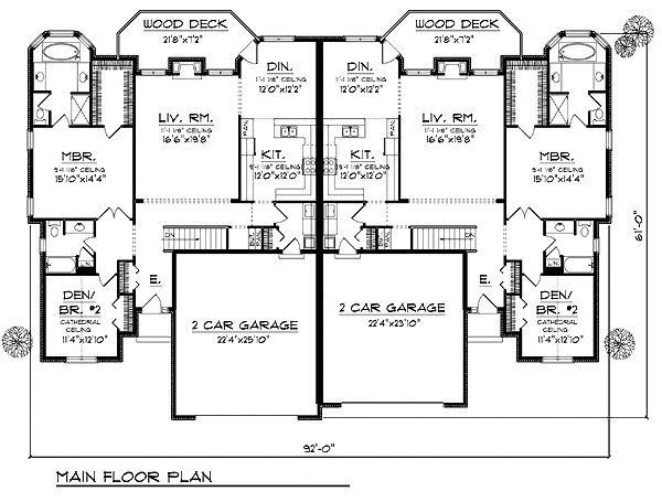 First Floor Plan of Traditional Multi-Family Plan 73482