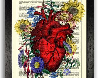 Heart Covered in Flowers Wall Art Print, Anatomical Heart Poster, Human Heart  Anatomy Illustration