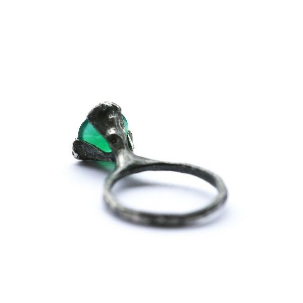 The cone ring - oxidized Silver with green Agate via Paula Hagerskans Jewellery. Click on the image to see more!