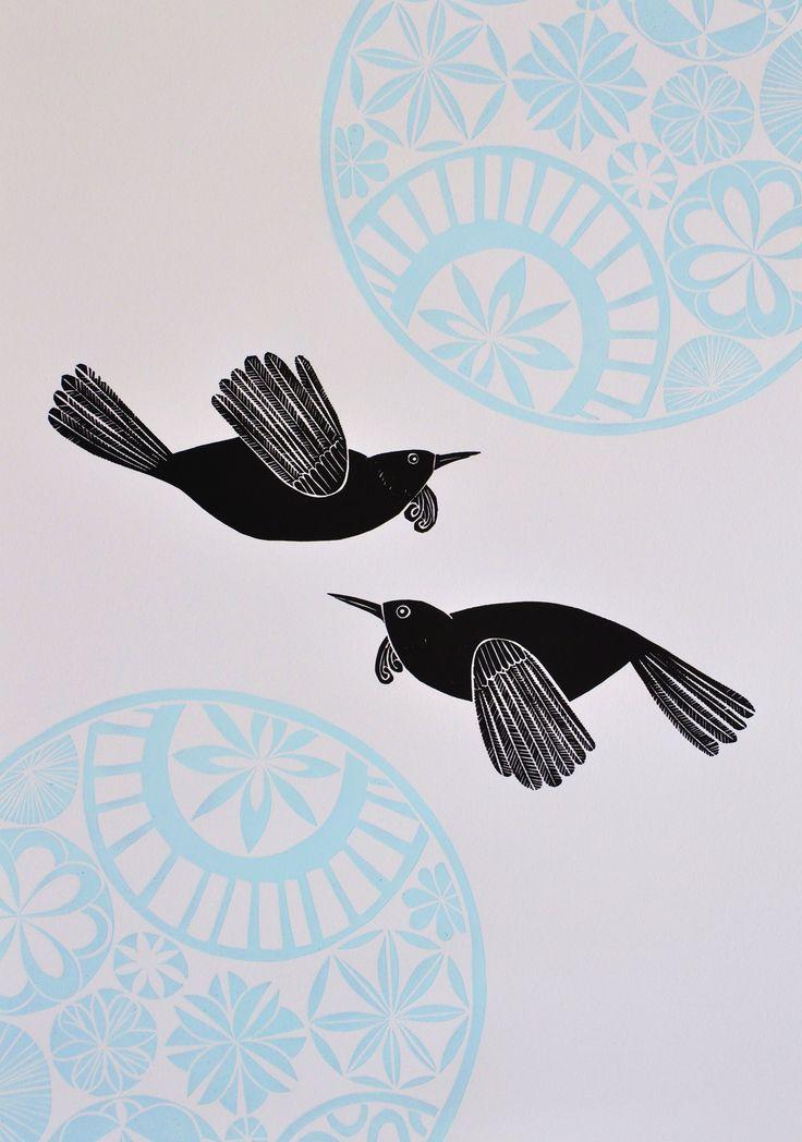 Annie Smits Sandano - Blue Sky Tuis - woodcut print on paper