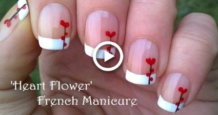 Heart Flower Nail Art / VALENTINES DAY FRENCH MANICURE Tutorial
