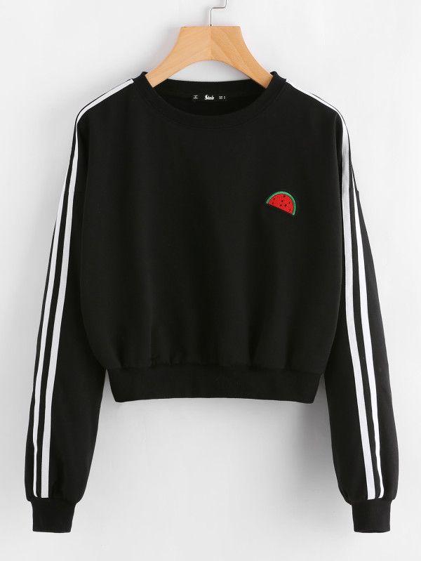 Embroidered Watermelon Patch Striped Sleeve Sweatshirt -SheIn(Sheinside)
