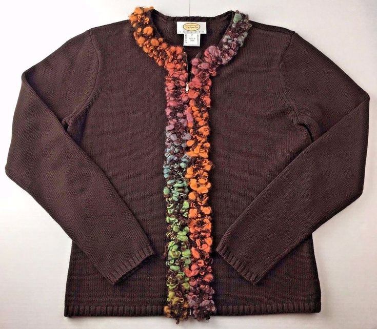 Talbots Brown Zip Front Cotton Cardigan w Wool Blend Trim Womens PP 0P 2P #Talbots #Cardigan #Casual