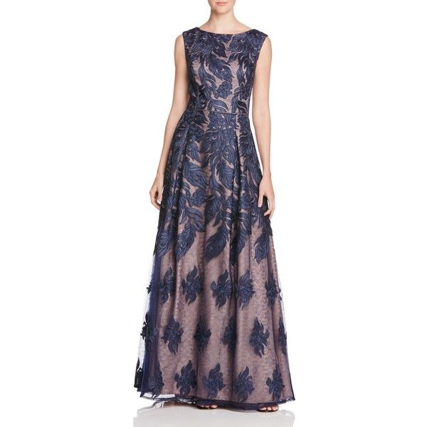 Aidan Mattox Feather Embroidered Gown (14 490 UAH) ❤ liked on Polyvore featuring dresses, gowns, twilight, aidan mattox, aidan mattox dress, feather gown, embroidered dress and feather evening gown