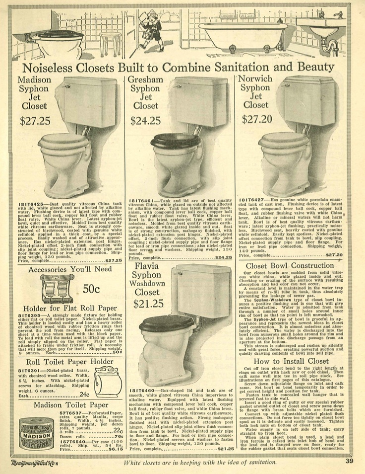 Toilets from 1910 Wards catalog. | Early 1900s Bathrooms ...