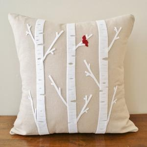 cute birch pillows & a red cardinal bird... looks easy enough, but probably decieving in lots of detail...