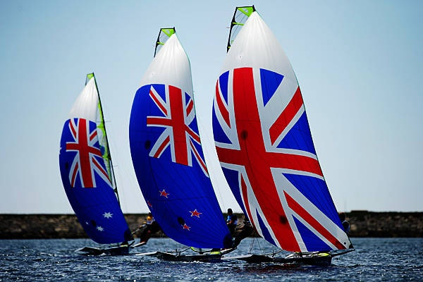 Australia, New Zealand, and Great Britain in the Men's 49er Olympic sailing event