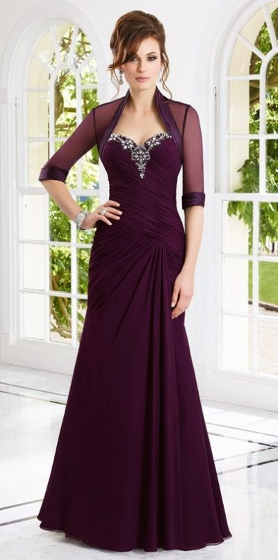 VM Collection 70902 Long MOB Dress with Sheer Bolero. Strapless long Chiffon mother of the bride dress with beading. Includes three quarter sleeve sheer bolero jacket  Colors: Eggplant, Black, Royal