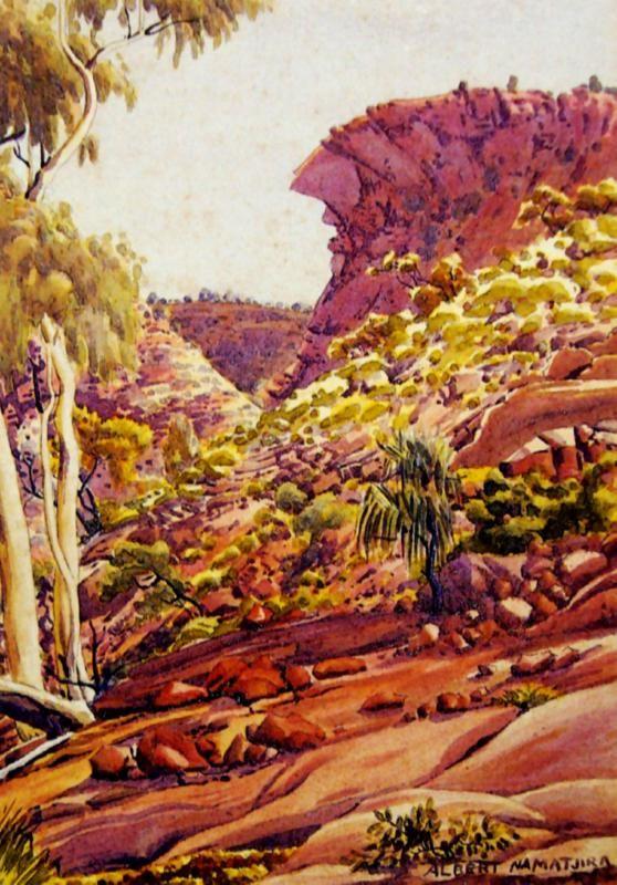 Albert Namatjira, Central Australian Landscape, watercolour on paper on cardboard, 36.5 x 26 cm