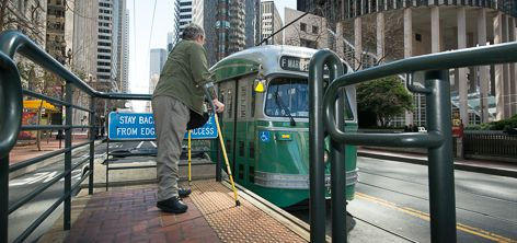 Disabled passenger waits at ramp access for streetcar to pull up | March 11, 2013