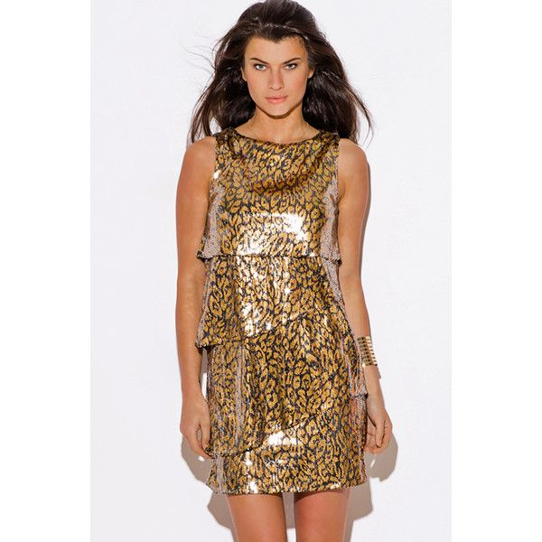 Gold sequined animal print tiered cocktail party club mini dress ($25) ❤ liked on Polyvore featuring dresses, red, gold party dress, short party dresses, gold cocktail dress, red sequin cocktail dress and cocktail party dress