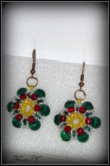 Cute Poinsettia #earrings. perfect for the Holiday Season, either as a touch to any outfit or as great holiday gifts for friends and family. and made with Czech glass seed beads and glass crystals. About 2,5 cm in diameter, 3 cm long with the ear piece 25.00 Ron