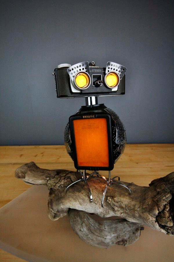 {Owlberto The Wise} - owl camera robot lamp assemblage - this is the coolest thing!