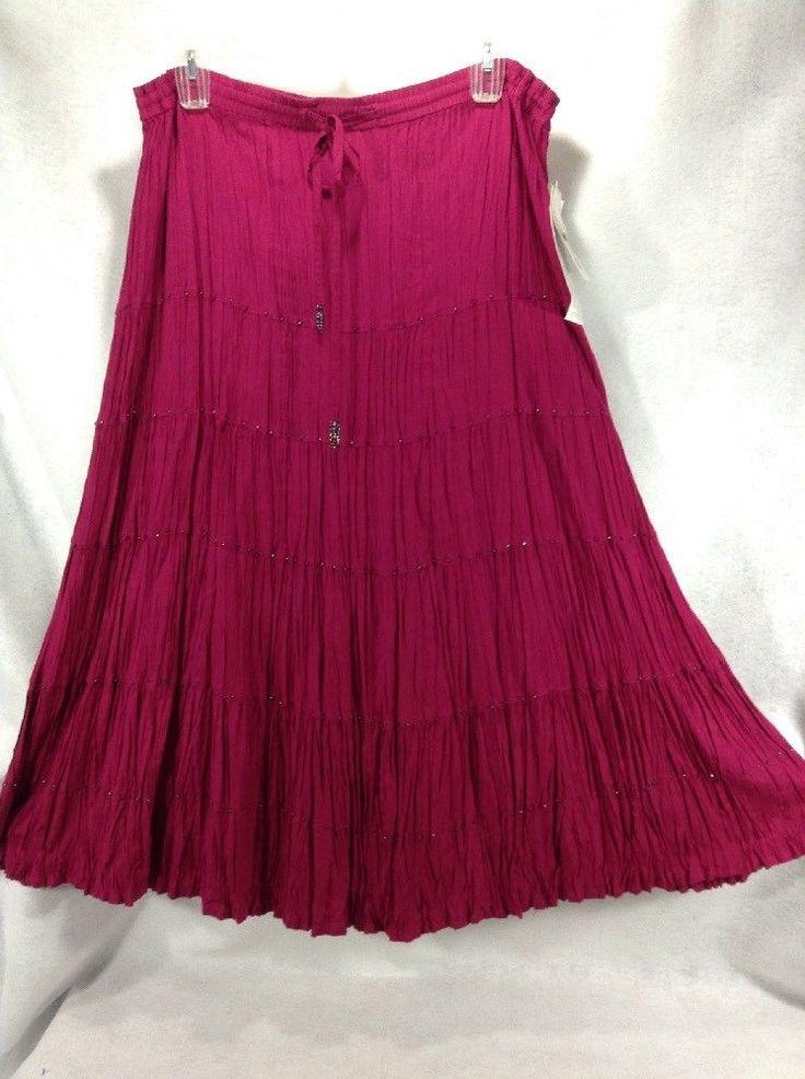 Broomstick Skirt XL Maxi Length Pink Fuschia Mauve Crinkle Beads Extras Mirasol  #Mirasol #Maxi #AllOccasion #crinkleskirt #broomstickskirt