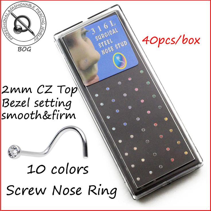 BOG-40piece 2mm CZ Bezel Setting  Nose Piercing Ring Stud Nostril Screw Twist Curve 20 Gauge