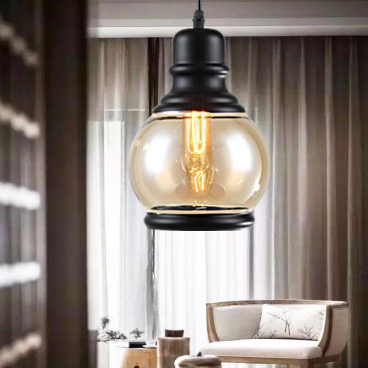 Loft Pendant Lights Fixtures Modern Glass Lamp Dining Room Restaurant Kitchen Indoor Decor Black Iron E27