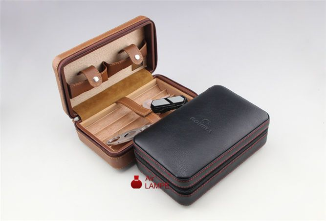 Free shipping Cohiba Cigar Leather Cedar Wood Case With Lighter & Cutter