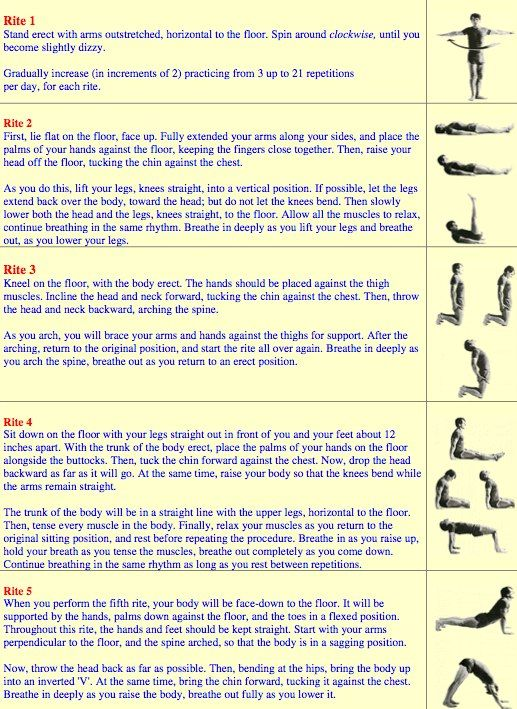 A new practice that I really like, The Five Tibetan Rites, consists of five specific exercises performed 3 - 21 times depending on proficiency, to specific breathing patterns.