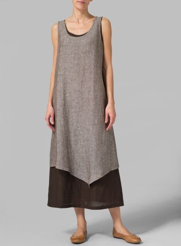 Linen Double Layered Long Dress Two Tone Brown/Dark Brown