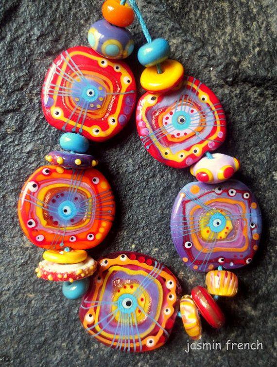 Mumbai - lampwork bead set by jasmin french on Etsy