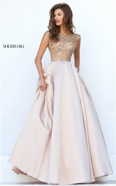 Sherri Hill 32359 Nude Beaded Cap Sleeves V-Back Long Prom Dresses 2016