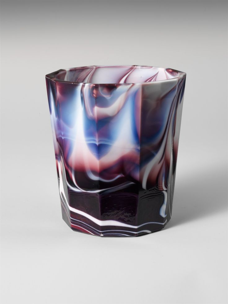 Slag Glass Tumbler by Challinor, Taylor and Co. 1870-1890 (This reminds me of Andy Martin's Marbleized Porcelain Tumblers.)
