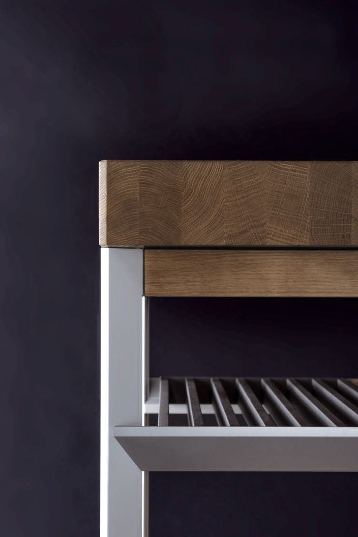 Love this detail photo of the bulthaup preparation element. Solid wood top with a beautifully crafted, very precise structure. www.bulthaup.com #bulthaup #kitchens #modernkitchens