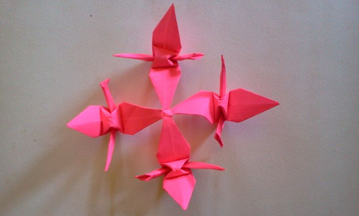 Origami  bird watch this video in youtube link  http://youtu.be/-sNeCBsdLE4,