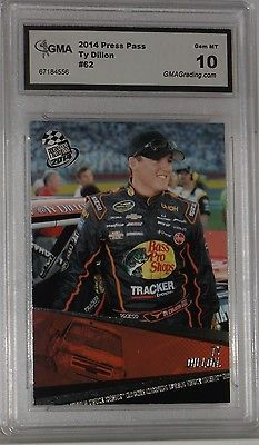 2014 PRESS PASS TY DILLON SILVER FOIL NASCAR CARD #62 GEM MT 10 BY GMA NICE CARD