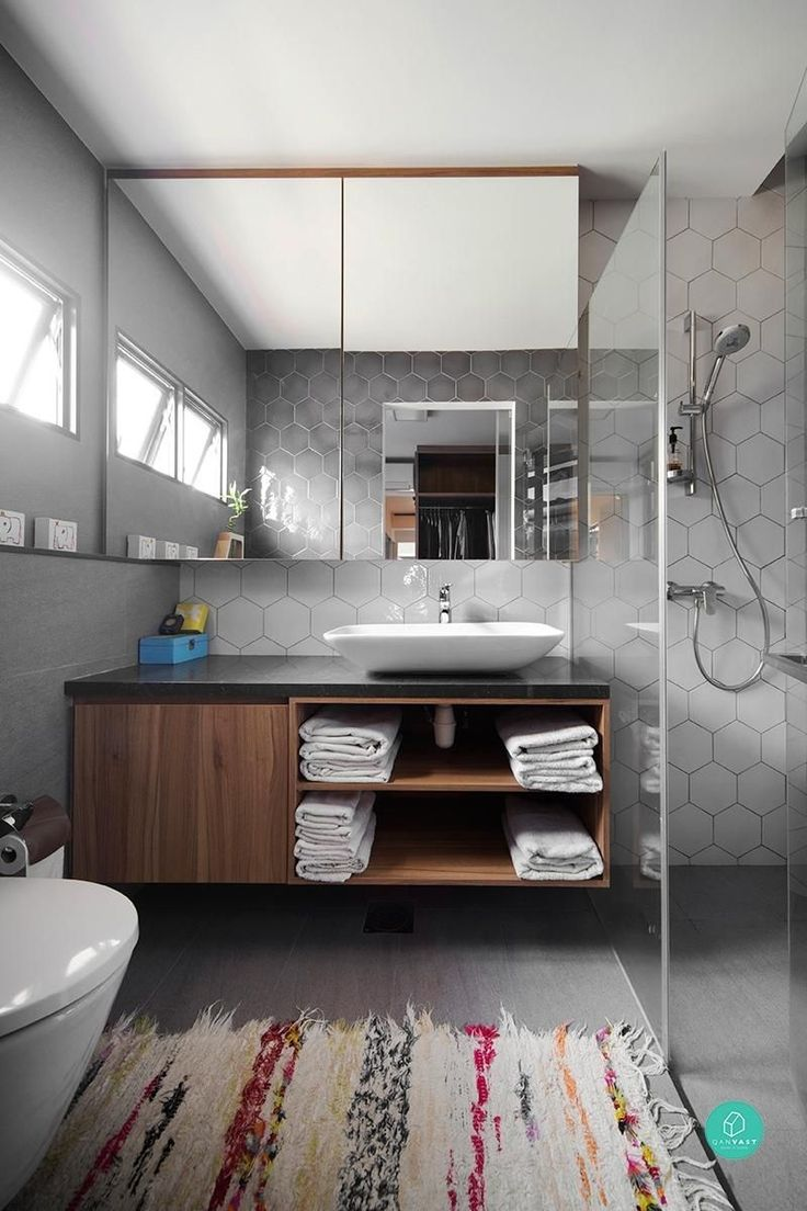 25+ Easy & Creative Bathroom Mirror Ideas to Reflect Your Style 2018 Hexagon tile bathroom Modern bathroom Concrete benchtop Badrum inspiration White bathroom Spiegel toilet #MirrorIdeas #Bathroom #BathroomIdeas #BathroomMirror #SmallBathroom #SmallBathroomMirror #BathroomRemodel #Simple #Rectangle #Rental #Dual #Flowers #Makeup #BeforeAndAfter #French #Cottage #Gray #Sinks #Floors #Toilets #Bathtubs