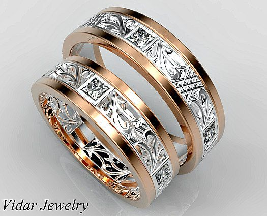 His And Hers Wedding Bands Matching Set Diamond Unique Luxury 14k Rose Gold Custom Two Tone