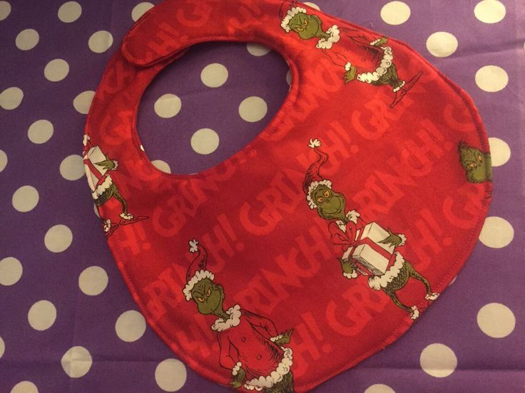 Dr. seuss The Grinch Who Stole Christmas Red Grinch Baby Bib Baby's First Christmas Stocking Stuffer Gift Holidays Christmas Eve