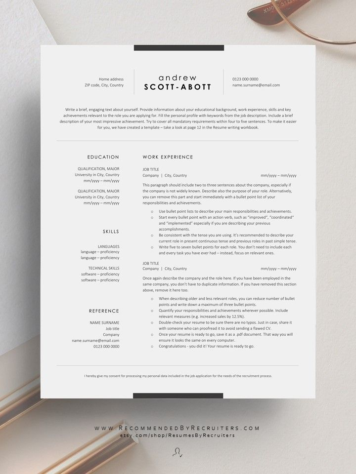 Corporate Resume Template Clean And Professional Cv Template Etsy In 2020 Cv Template Professional Resume Template Professional Cv Template