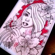 Dead flower cute girl tattoos | Best Tattoo design Ideas