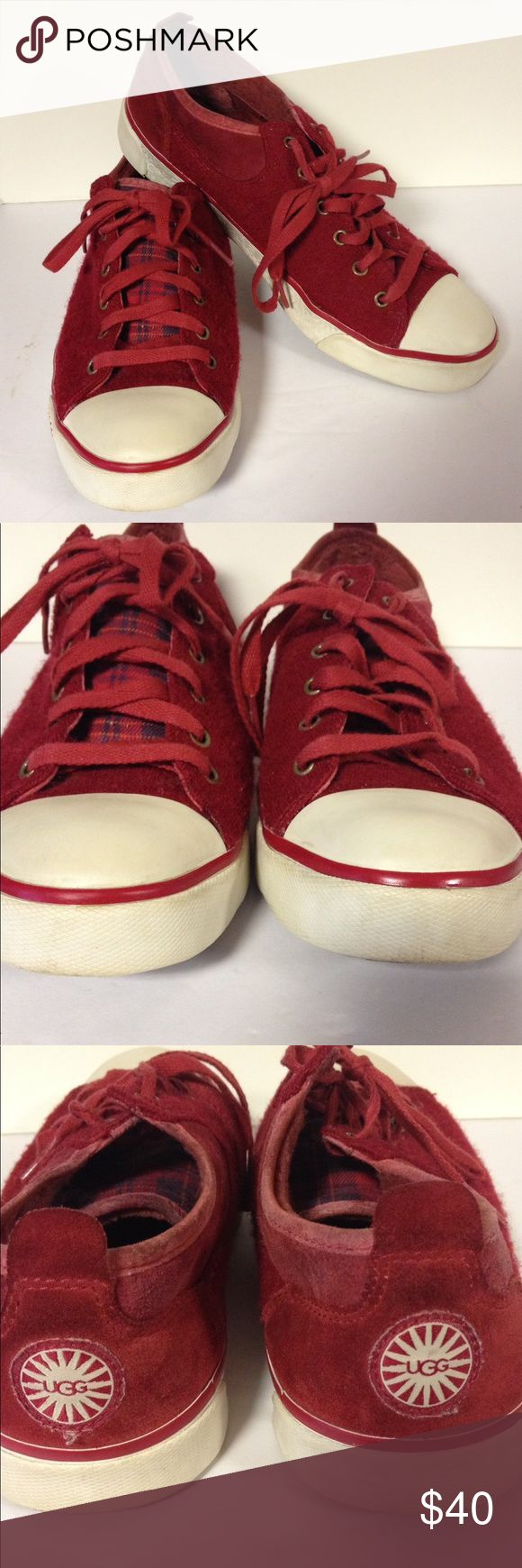 Ugg sneakers red 8 1/2 Good clean used condition.  Pet and smoke free.  Size 8 1/2 UGG Shoes Sneakers