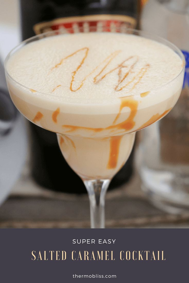 A boozy SALTED CARAMEL COCKTAIL made with salted caramel sauce, vodka, salted caramel Baileys and milk… dessert in a glass!    #saltedcaramel #cocktail #baileys #vodka #recipe #easy #thermomix #conventional #best