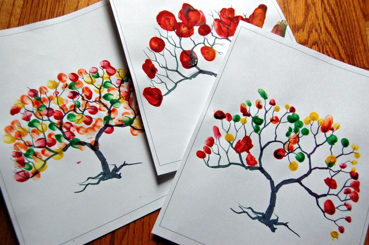 Download this blank tree: Fingerpaint the different seasons