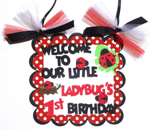 Door Sign Personalized Red Ladybug Garden by ScrapsToRemember, $14.50