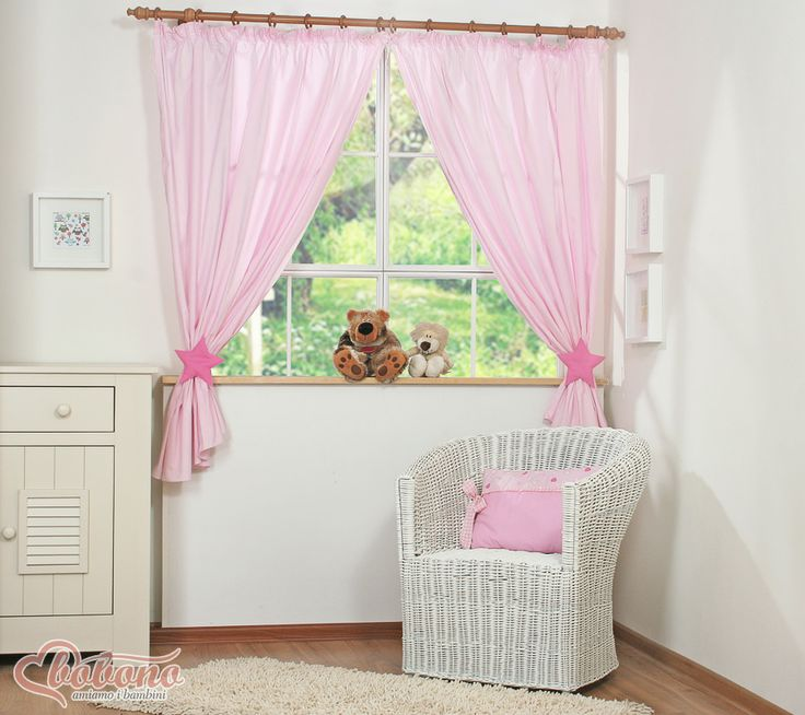 Pink curtains - stars / Bobono