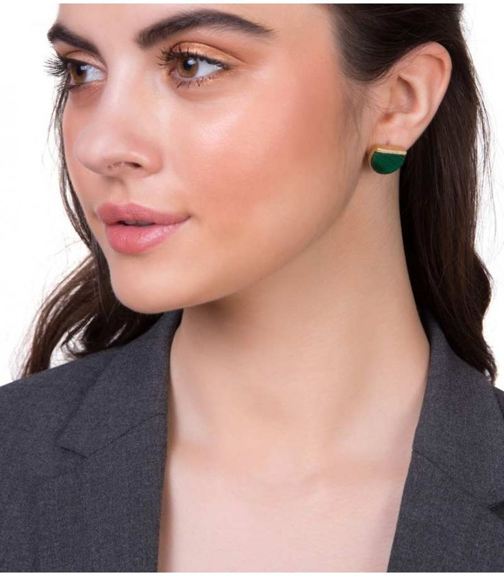 Town of Charm Malachite Earrings by Zariin. Hand crafted with green malachite stone in 22kt gold plating. See the collection at www.zariin.com   #green #malachite #goldplated #earrings #zariin #jewelry